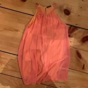 Peachy/Orange Flowy Shift Dress